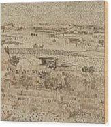 Harvest  The Plain Of La Crau Wood Print