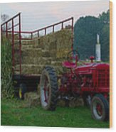 Harvest Time Tractor Wood Print