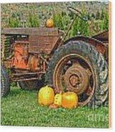 Harvest Tractor Wood Print