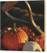 Harvesting For Thanksgiving Wood Print by Sandra Cunningham