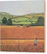 Harvesting In The Cotswolds Wood Print