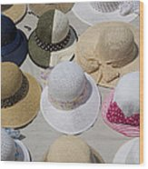 Hats For Sale Next To Marina, Lerici Wood Print