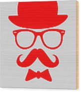 Hats Glasses And Mustache Poster 3 Wood Print by Naxart Studio