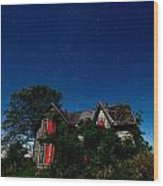 Haunted Farmhouse At Night Wood Print