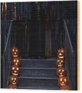 Haunted House With Lit Pumpkins And Demon Wood Print