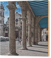 Havana Cathedral And Porches. Cuba Wood Print by Juan Carlos Ferro Duque