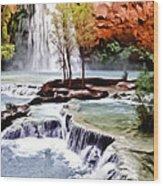 Havasau Falls Painting Wood Print