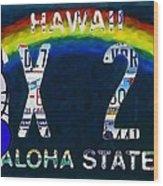 Hawaii License Plate Wood Print