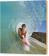 Hawaii, Maui, Makena - Big Beach, Boogie Boarder Riding Barrel Of Beautiful Wave Along Shore. Wood Print