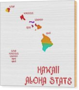 Hawaii State Map Collection 2 Wood Print