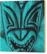 Hawaiian Aquamarine Mask Wood Print