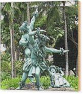 Hawaiian Dancers Statues Wood Print