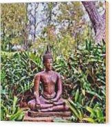 Hawaiian Garden Buddha  Wood Print