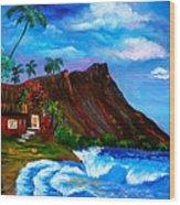 Hawaiian Homestead At Diamond Head Wood Print
