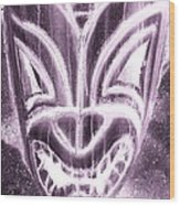 Hawaiian Mask Negative Pink Wood Print