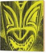 Hawaiian Mask Negative Yellow Wood Print