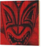 Hawaiian Red Mask Wood Print