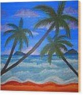 Hawaiin Beach Wood Print by Haleema Nuredeen