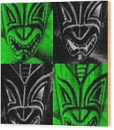 Hawaiian Masks Black Green Wood Print