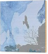 Hawk In Flight 1 Wood Print
