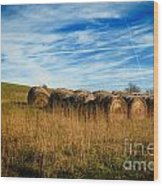 Hay Bales And Contrails Wood Print