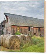 Hay Bales And Old Barns Wood Print by Gary Heller