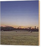 Hay Bales In A Field At Sunset Wood Print