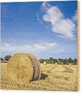 Hay Bales Under Deep Blue Summer Sky Wood Print