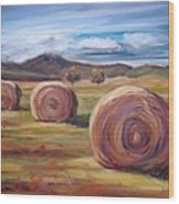 Hay Harvest Wood Print