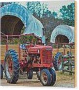 Hay Rides Trailer Wood Print
