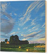 Hay Rolls On The Farm Series One In Westmoreland County Pennsylvania Wood Print