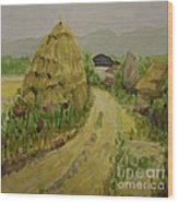 Hay Stack Wood Print by Lilibeth Andre