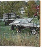 Hay Wagons Wood Print