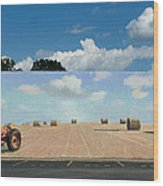 Haybales - The Other Side Of The Tunnel Wood Print by Blue Sky