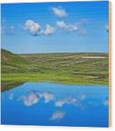 Hayden Valley Cloud Reflection Yellowstone National Park Wood Print