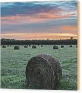 Hayfield Sunrise 3d21735 Wood Print