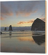 Haystack And Sunset Along Oregon Coast Wood Print