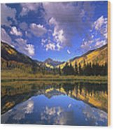 Haystack Mountain Reflected In Beaver Pond Wood Print