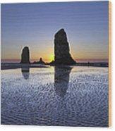 Haystack Needles Rocks At Cannon Beach Wood Print