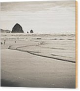 Haystack Rock And Cannon Beach Wood Print