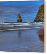 Haystack Rock And The Needles II Wood Print by David Patterson