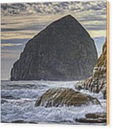 Haystack Rock At Cape Kiwanda Wood Print