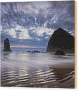 Haystack Rock At Sunset Wood Print by Andrew Soundarajan