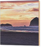 Haystack Rock Beach Walk Sunset Wood Print