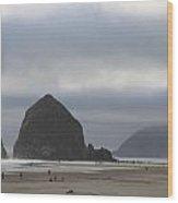 Haystack Rock Cannon Beach Wood Print