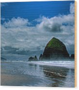 Haystack Rock Iv Wood Print