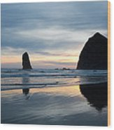 Haystack Rock On Cannon Beach Oregon Wood Print