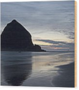 Haystack Rock On Cannon Beach Oregon Evening Wood Print