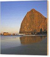 Haystack Rock Oregon Coast Wood Print