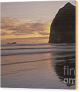Haystack Rock Sunset Wood Print